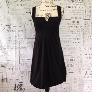 WHBM Black Empire Waist Bubble Hem Dress LBD NEW